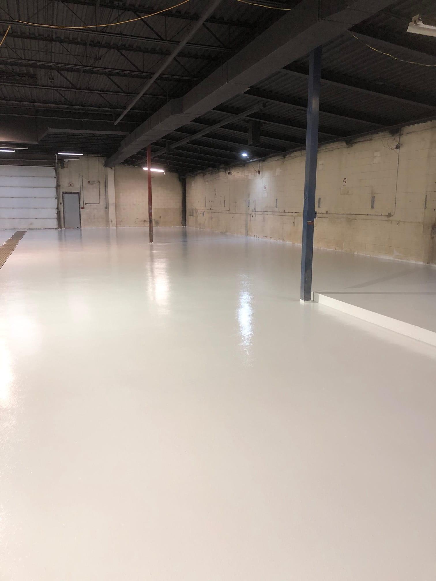 RexCoat seamless epoxy flooring - alternate angle of white epoxy flooring